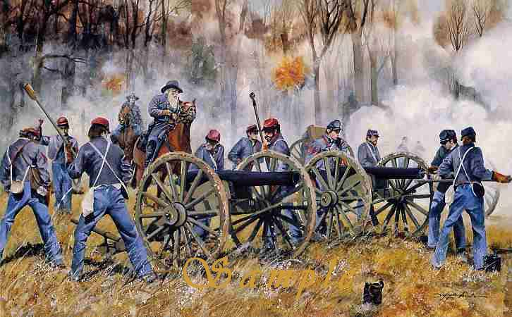 Confederate Artillery at the Battle of Shiloh, Painting by Lafayette Ragsdale