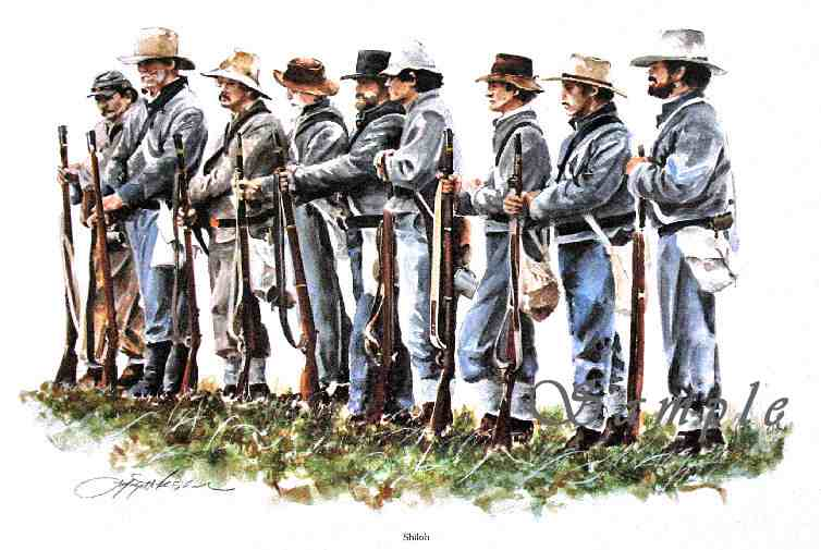 Shiloh/Confederate Infantry/Civil War/Painting by Lafayette